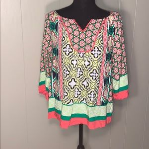 3/$25 crown and ivy print top size XS